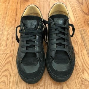MM6 Madison Martin Margiela black leather sneakers